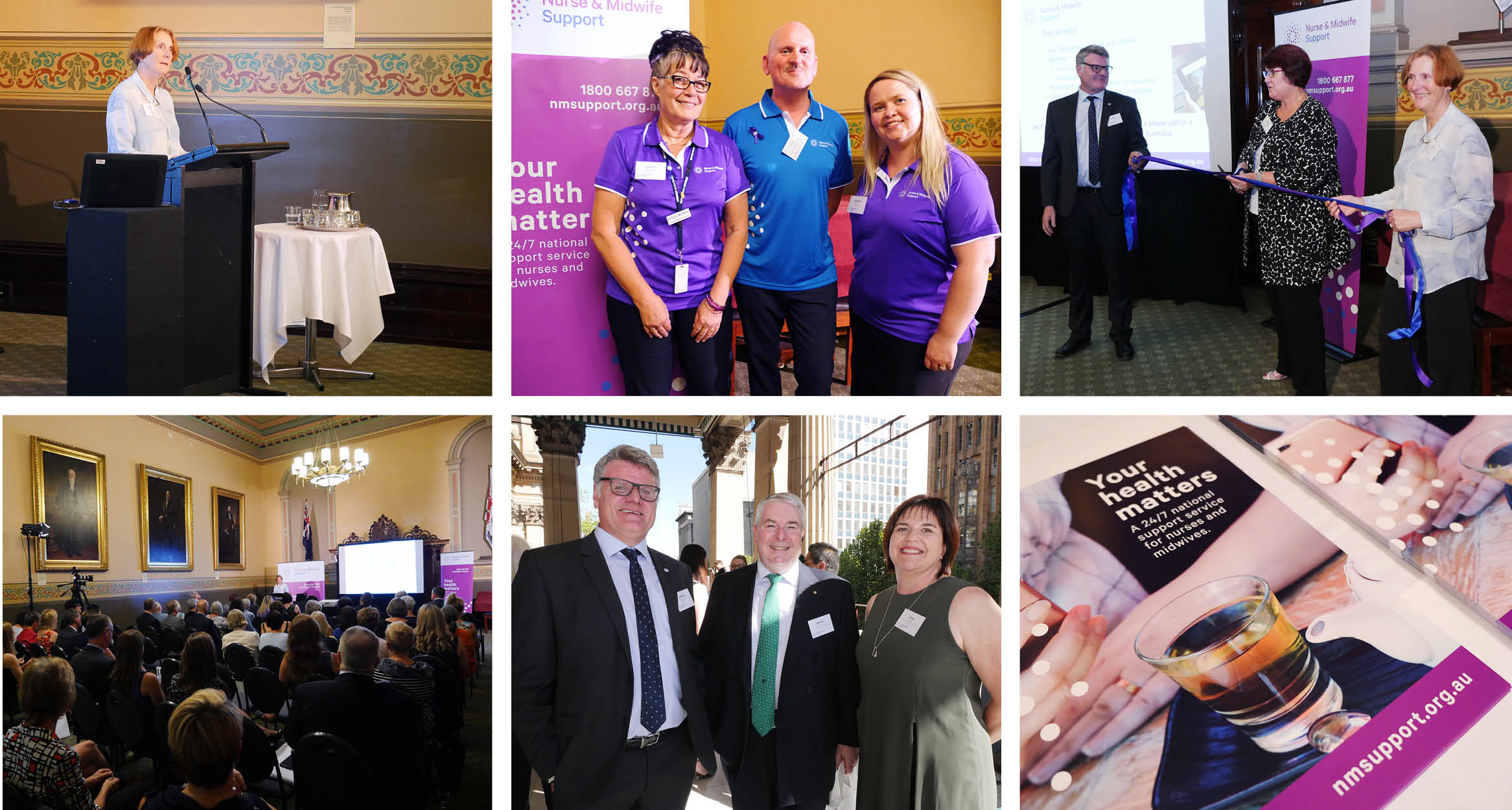 Various images of the Nurse & Midwife Support launch event